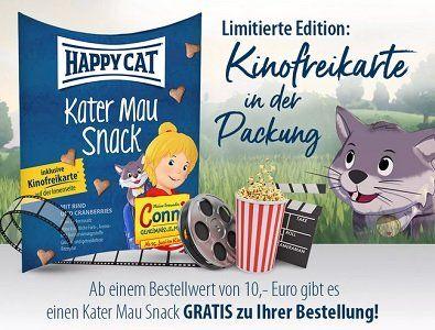 Bei Happy Cat gratis Snack & Kinokarte abstauben