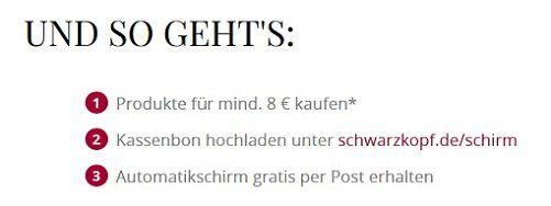 Mit dem Kauf von Schwarzkopf & Henkel Produkten Schirm gratis erhalten
