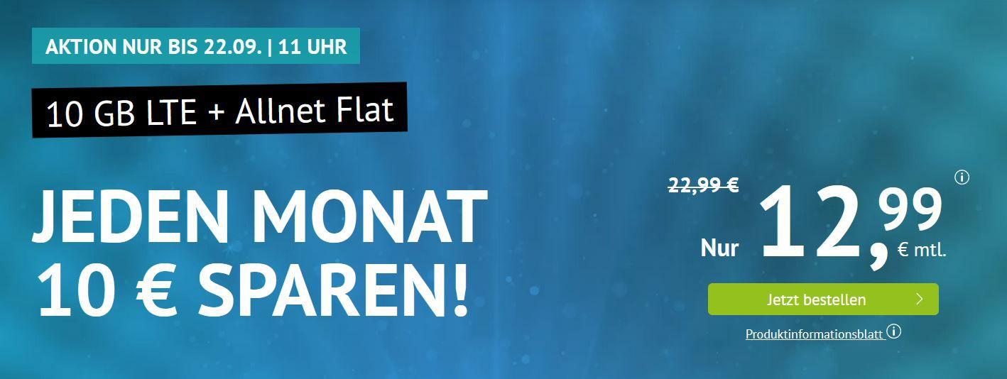 AllNet & SMS Flat + 10GB LTE für 12,99€ (mtl.) O² Netz