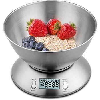 himaly digitale Küchenwaage (bis 5kg) mit Edelstahlschüssel für 11,99€ (statt 18€)