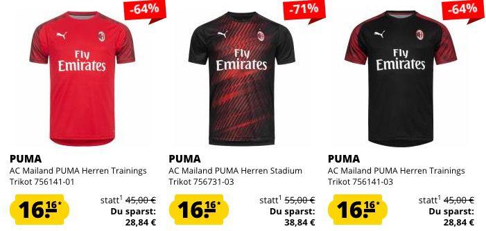 AC Mailand Trikots ab je 16,16€ oder Poloshirt für 15,99€