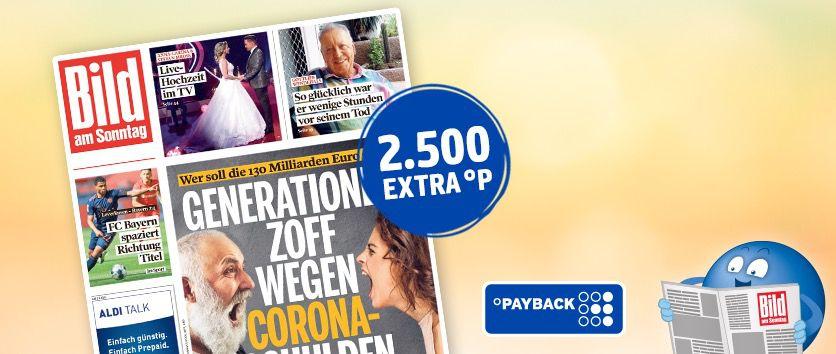 8 Ausgaben BILD am Sonntag für 18€ + Prämie 2.500 Payback Punkte (Wert 25€)