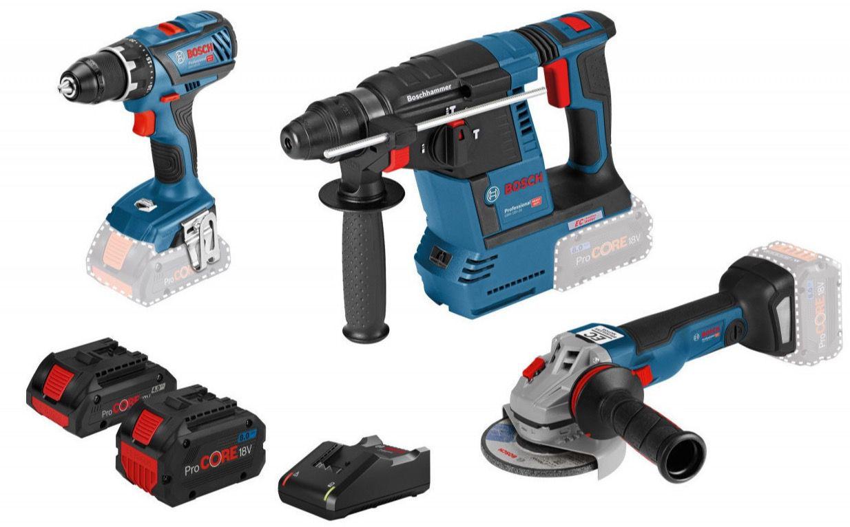 Bosch 18V Akku Profi Set (Bohrschrauber, Bohrhammer, Winkelschleifer, Tasche, 2 Akkus) für 479€ (statt 526€)   eBay Plus