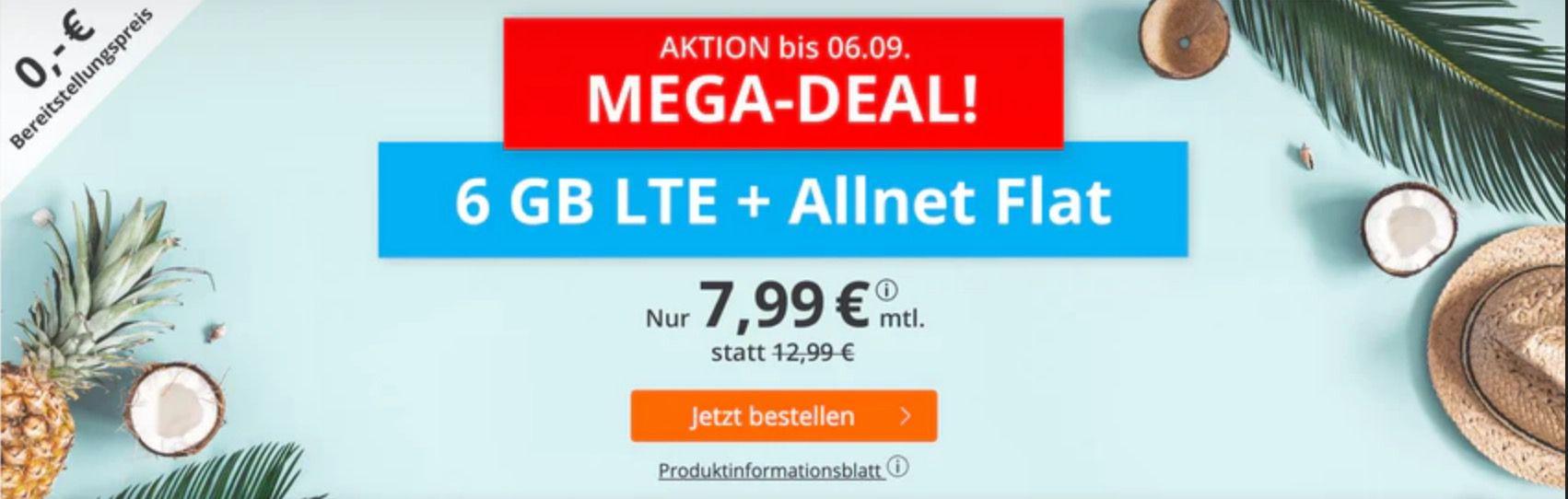 Top!🔥 o2 Allnet Flat mit 6GB LTE für 7,99€ mtl. + keine Laufzeit