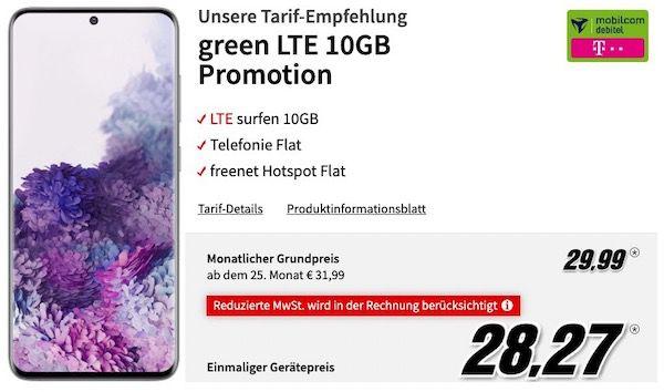 Samsung Galaxy S20 128GB für 28,27€ + Telekom Allnet Flat mit 10GB LTE für 29,99€ mtl.