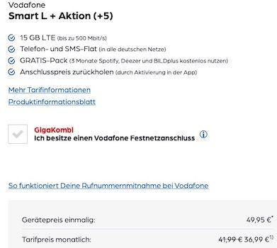 iPhone SE (2020) 64GB + Apple Watch Series 3 GPS für 49,95€ + Vodafone Flat mit 15GB LTE für 36,99€ mtl.