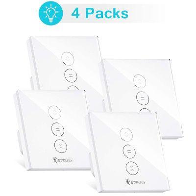 4er Pack Etersky Rolladenschalter mit Zeitschaltuhr (Alexa, Google oder App) für 48,99€ (statt 70€)