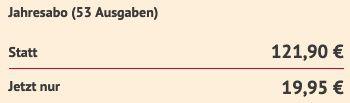 53 Ausgaben GONG direkt nur 19,95€ (statt 122€)