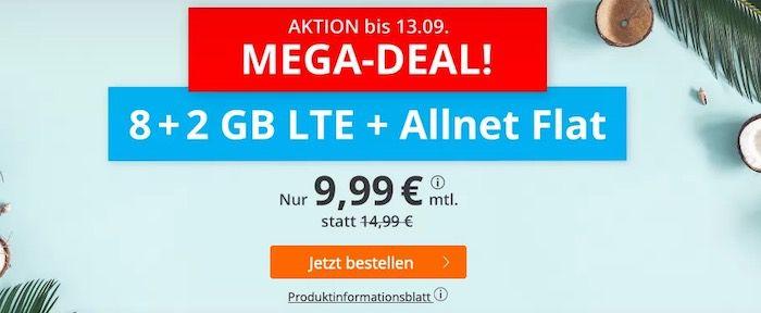 Sim.de Megadeal 🔥 o2 Allnet Flatrate mit 10GB LTE für 9,99€ mtl. + auch mit monatlicher Laufzeit