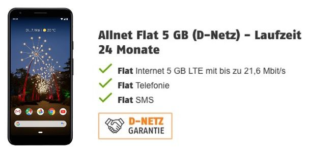 Google Pixel 3a XL für 29,99€ + Vodafone Flat von Klarmobil inkl. 5GB LTE für 12,99€ mtl.