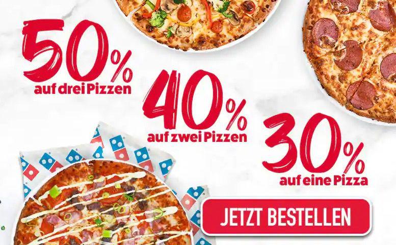 Vorbei! Dominos: 3 Pizzen mit 50% Rabatt   oder 2 mit 40% bzw. 1 mit 30%