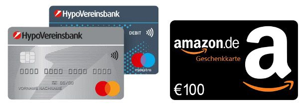Girokonto der HypoVereinsbank 5 Jahre kontoführungsfrei   dazu 100€ Amazon Gutschein