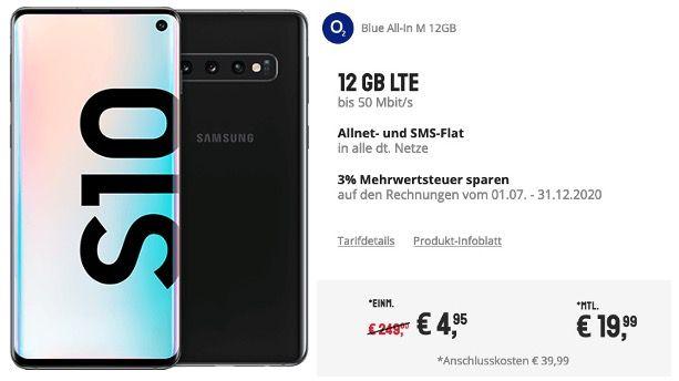 Samsung Galaxy S10 für 4,95€ + o2 Allnet Flatrate inkl. 12GB LTE für 19,99€ mtl.