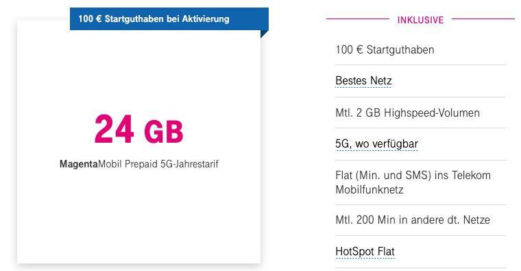 Telekom MagentaMobil Prepaid 5G Jahrestarif für 97,43€ inkl. 100€ Startguthaben   24GB + WLAN HotSpot/Call + EU/Schweiz Roaming