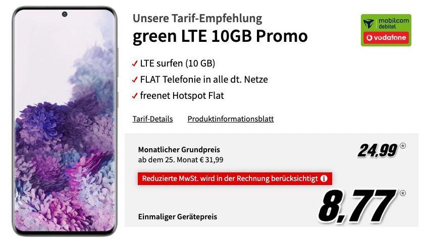Samsung Galaxy S20 128GB für 8,77€ + Vodafone Allnet Flat mit 10GB LTE für 24,99€ mtl.
