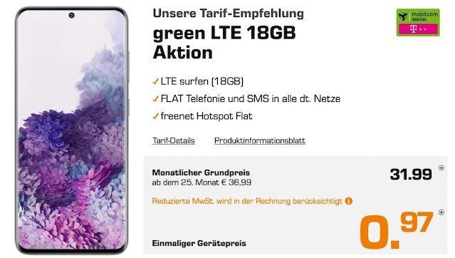 Samsung Galaxy S20 128GB für 0,97€ + Telekom Allnet Flat mit 18GB LTE für 31,99€ mtl.