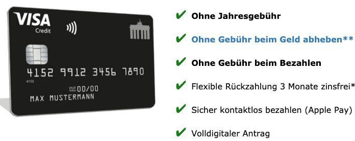 Tipp! Schwarze Visa Kreditkarte komplett beitragsfrei (ein Leben lang) + 30€ Startguthaben + 2% Cashback