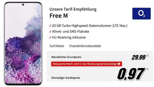 Samsung Galaxy S20 für 0,97€ + o2 Allnet Flatrate inkl. 20GB LTE für 29,99€ mtl.