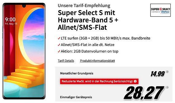 LG Velvet 128GB für 28,27€ mit O2 AllNet und SMS Flat mit 5GB LTE50 für 14,99€ mtl.