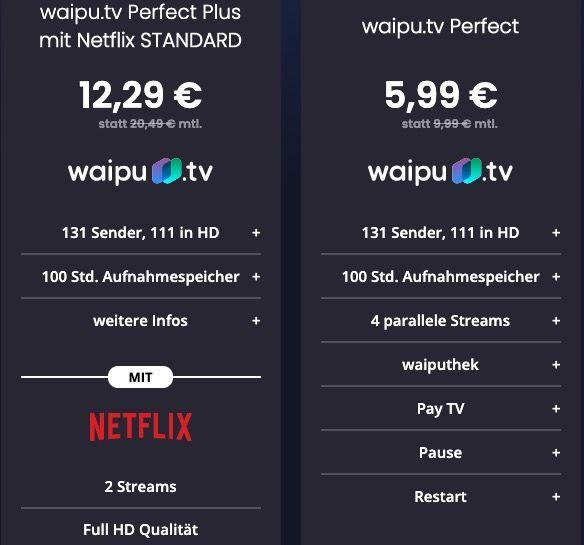 4 Monate waipu Perfect Plus mit Netflix Standard für 12,29€ mtl. (statt 20€) oder waipu Perfect für 5,99€ mtl. (statt 10€)
