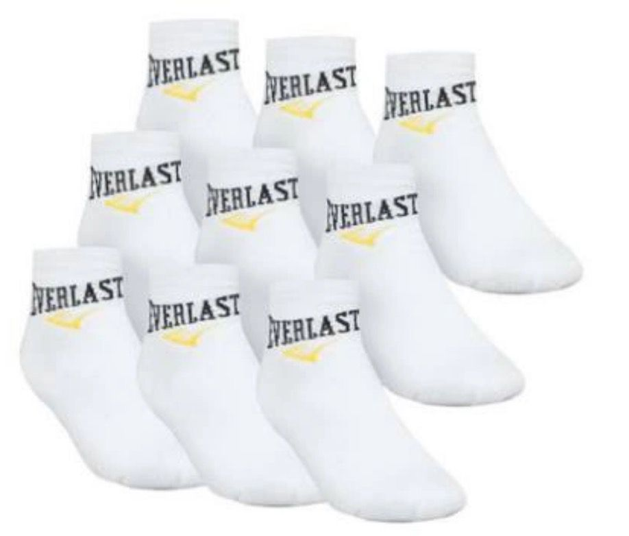 9er Pack Everlast Unisex Quater Socken in Weiß (40 46) für 8,88€