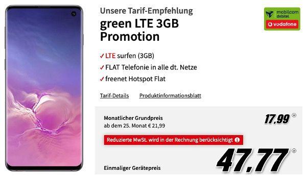 Samsung Galaxy S10 mit 128GB für 47,77€ + Vodafone Flat mit 3GB LTE für 17,99€ mtl.