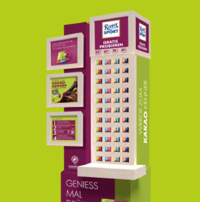 Am Schokoladen Automaten Ritter Sport kostenlos probieren