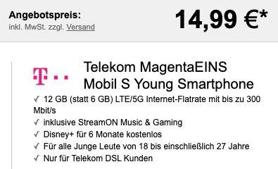 Junge Leute + Magenta: Samsung Galaxy S20 für 14,99€ + Telekom Flat 12GB LTE inkl. StreamOn + 6 Monate Disney+ für 29€mtl. + 100€ Cashback