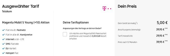 Knaller für Junge Leute: Samsung Galaxy S20+ 5G für 5€ + Telekom Tarif mit 6GB LTE für 34,95€ mtl. + Galaxy Buds Live (Wert 133€)