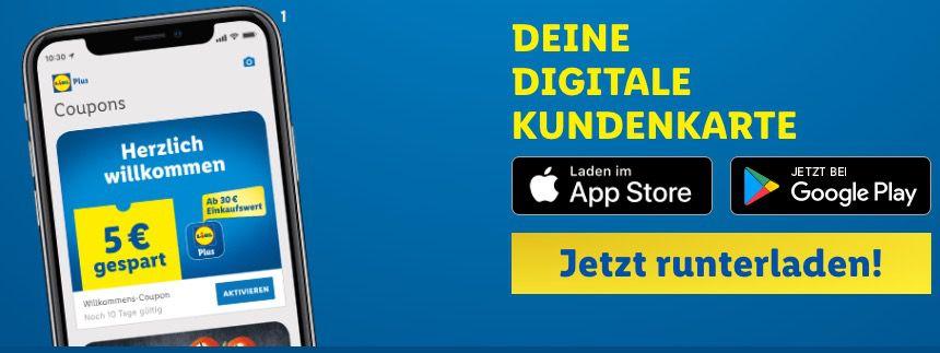 LIDL Plus App: 5€ Rabatt ab 30€ in der Filiale