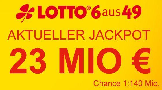 23 Mio Jackpot: 5 Felder Lotto 6 aus 49 für nur 0,60€   Lottobay Neukunden