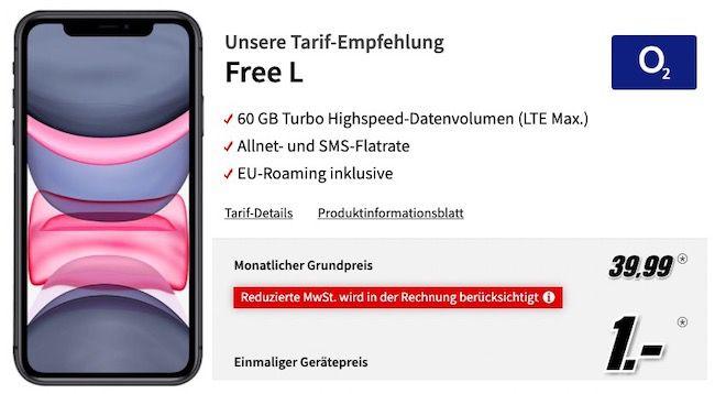Apple iPhone 11 für 1€ + o2 Flat mit 60GB LTE für 39,99€ mtl.