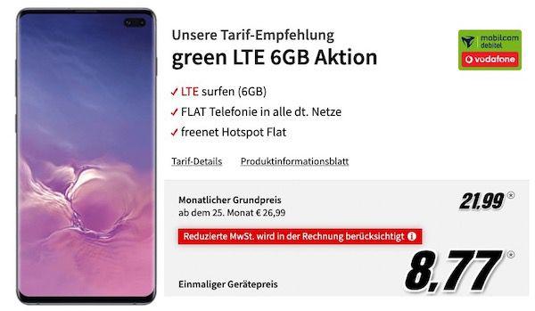 Samsung Galaxy S10+ für 8,77€ + Vodafone Flat mit 6GB LTE für 21,99€ mtl.