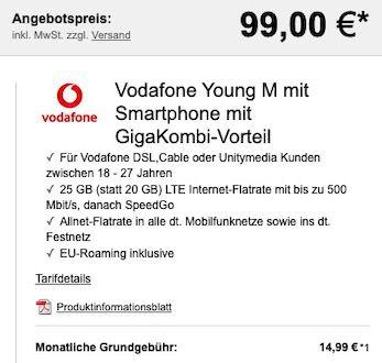 Abgelaufen! Knaller für junge Leute + GigaKombi: Samsung Galaxy S20 FE für 99€ + Vodafone Flat mit 25GB LTE für 19,99€ mtl.