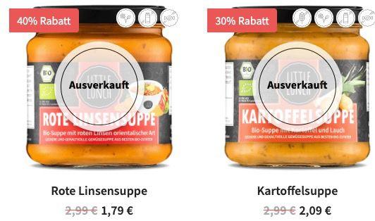 Little Lunch Season Start Sale bis  50%   z.B. Hühnerbrühe 1,75€ oder Little Italy Suppe 2,09€