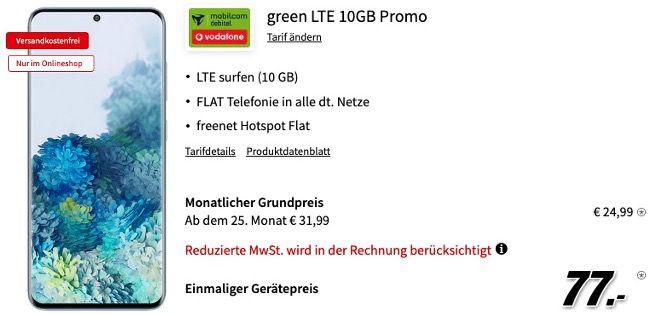 Samsung Galaxy S20 128GB für 77€ + Vodafone Allnet Flat mit 10GB LTE für 24,99€ mtl.