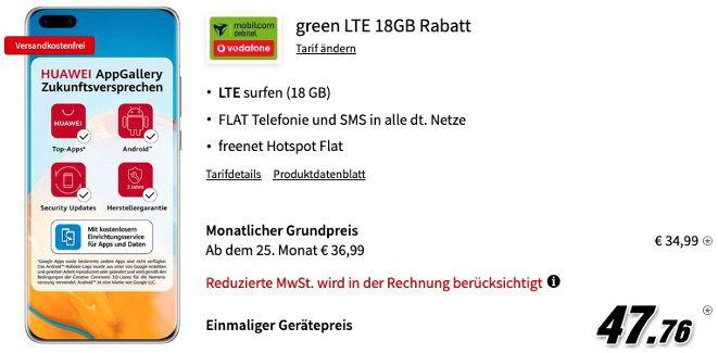 Huawei P40 Pro 256GB für 47,76€ mit Vodafone Allnet Flat mit 18GB LTE für 34,99€ mtl.