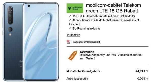 Xiaomi Mi 10 128GB für 79€ + Telekom Flat mit 18GB LTE für 24,99€mtl.