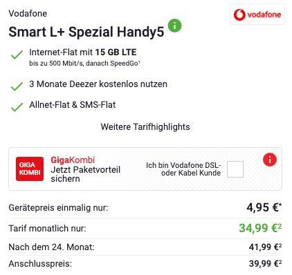 Samsung Galaxy S20 5G für 4,95€ + 6 Monate Spotify gratis + Vodafone Flat mit 15GB LTE für eff. 34,99€ mtl.