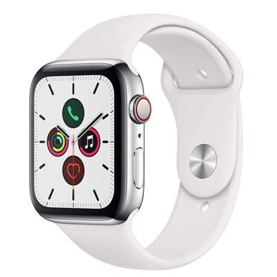 Apple Watch Series 5 (GPS + LTE, 44mm, Edelstahl) mit Sportarmband für 468,81€ (statt 553€)