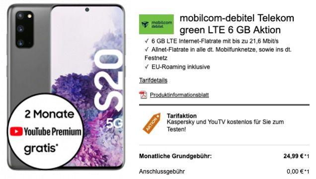 Samsung Galaxy S20 5G 128GB für 49€ + Telekom Allnet Flat mit 6GB LTE für 24,99€ mtl.