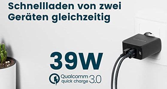 RAMPOW USB Ladegerät mit QC 3.0, 39W & 2x USB Ports für 6,60€ (statt 19€)   Prime