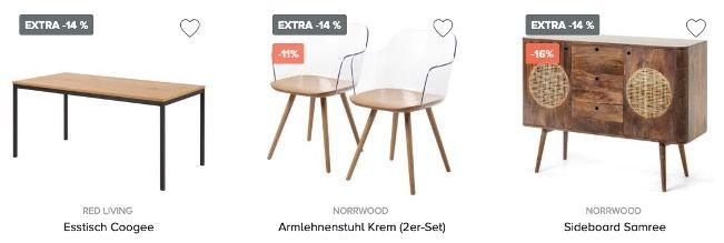 home24 jetzt 14% Extra Rabatt auf viele Artikel ab 150€ + keine VSK + gratis Retoure
