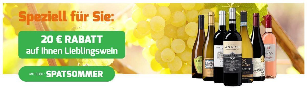 Weinvorteil Spätsommer Sale mit 20€ extra Rabatt ab 12 Flaschen