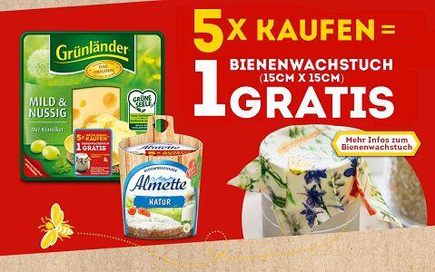 Kauf Produkte von Almette und/oder Grünländer   Erhalte ein Bienenwachstuch gratis