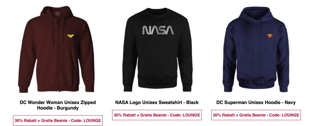 30% Rabatt auf NASA Kleidung (T Shirts & Hoodies)   z.B. Sweatshirt für 18,89€