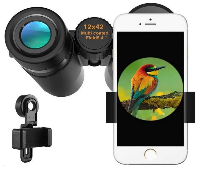 Kylietech Fernglas 12x42 HD Fernglas wasserdicht inkl. Smartphone Adapter für 19,99€ (statt 30€)