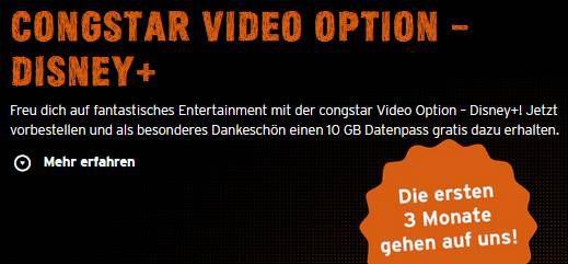 Congstar: 3 Monate Disney+ & 10GB Datenpass kostenlos   auch Bestandskunden!