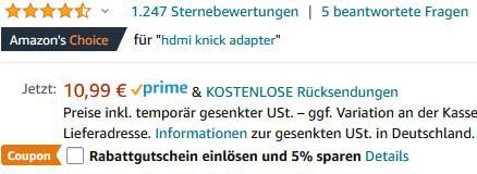 2er Pack: UGREEN HDMI Adapter im 270/90° Winkel für 4,99€   Prime