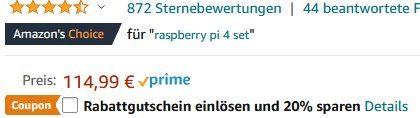 Raspberry Pi 4 Model B Kit mit 4GB & 64GB SD Karte für 82,79€ (statt 115€)